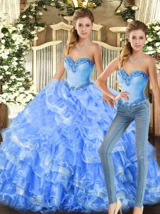 Sleeveless Floor Length Beading and Ruffles Lace Up Quince Ball Gowns with Baby Blue and Light Blue