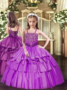 Beautiful Beading and Ruffled Layers Pageant Dress Toddler Lilac Lace Up Sleeveless Floor Length