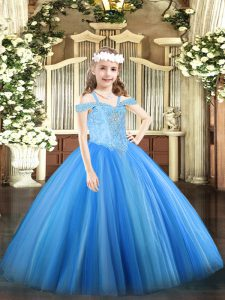 Perfect Off The Shoulder Sleeveless Tulle Glitz Pageant Dress Beading Lace Up