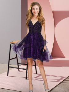 Affordable Purple A-line Appliques and Ruffles Damas Dress Backless Tulle Sleeveless Knee Length