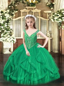 Best Sleeveless Lace Up Floor Length Beading and Ruffles Pageant Dress for Girls