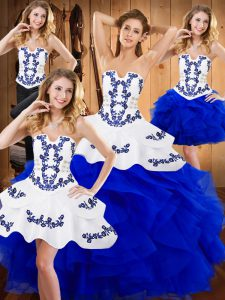 Chic Blue Ball Gowns Strapless Sleeveless Satin and Organza Floor Length Lace Up Embroidery and Ruffles Quinceanera Dresses