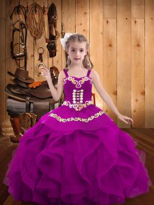 Best Fuchsia Ball Gowns Embroidery and Ruffles Little Girl Pageant Dress Lace Up Organza Sleeveless Floor Length