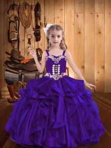 Affordable Straps Sleeveless Organza Pageant Dress Embroidery and Ruffles Lace Up