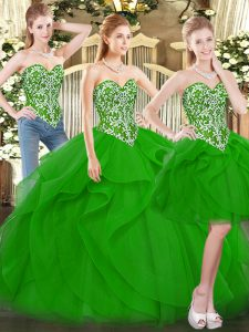 Best Selling Floor Length Lace Up Quinceanera Dresses Green for Military Ball and Sweet 16 and Quinceanera with Beading and Ruffles