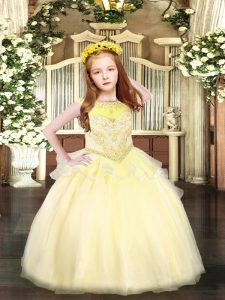 Light Yellow Pageant Dress for Teens Party and Quinceanera with Beading Scoop Sleeveless Zipper