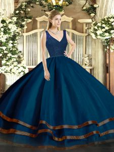 Floor Length Navy Blue Sweet 16 Dress Organza Sleeveless Beading and Lace and Ruffled Layers