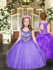 Sweet Floor Length Lavender Pageant Gowns Tulle Sleeveless Beading and Ruffles