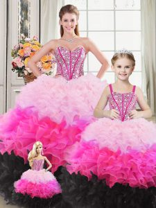 Extravagant Multi-color Organza Lace Up Quinceanera Dresses Sleeveless Floor Length Beading and Ruffles