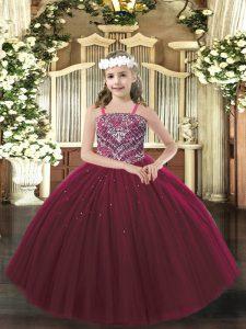 Straps Sleeveless Little Girls Pageant Gowns Floor Length Beading Burgundy Tulle