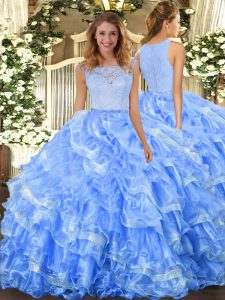 Ideal Light Blue Ball Gowns Organza Scoop Sleeveless Lace and Ruffled Layers Floor Length Clasp Handle Quinceanera Gowns