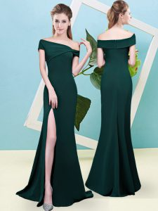 Dark Green Quinceanera Court Dresses Prom and Party and Wedding Party with Ruching Off The Shoulder Sleeveless Zipper