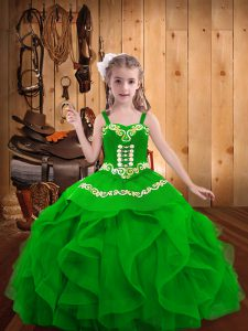 Green Lace Up Straps Embroidery and Ruffles Custom Made Pageant Dress Organza Sleeveless