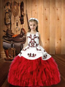 High End Floor Length Red Glitz Pageant Dress Organza Sleeveless Embroidery and Ruffles
