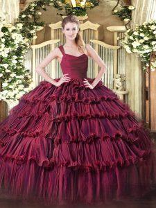 Edgy Organza Straps Sleeveless Zipper Ruffled Layers 15 Quinceanera Dress in Burgundy