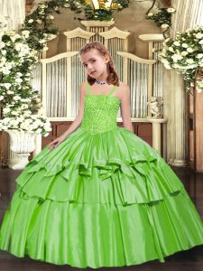 Perfect Yellow Green Sleeveless Floor Length Beading and Ruffled Layers Lace Up Pageant Gowns
