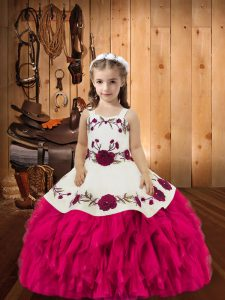 Straps Sleeveless Organza Girls Pageant Dresses Embroidery and Ruffles Lace Up