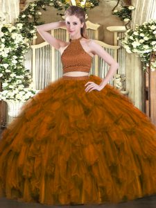Affordable Brown Quinceanera Gown Military Ball and Sweet 16 and Quinceanera with Beading and Ruffles Halter Top Sleeveless Backless