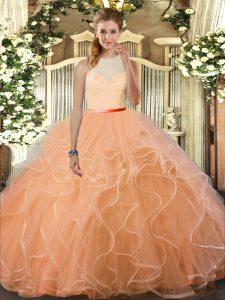Noble Peach Tulle Backless 15th Birthday Dress Sleeveless Floor Length Ruffles