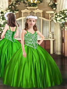 Excellent Green Lace Up Pageant Dress for Girls Beading Sleeveless Floor Length