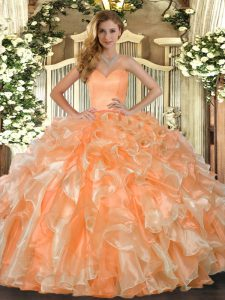 Fabulous Orange Sweetheart Neckline Beading and Ruffles Quinceanera Gown Sleeveless Lace Up