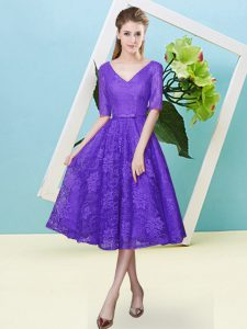 Purple V-neck Neckline Bowknot Quinceanera Court Dresses Half Sleeves Lace Up