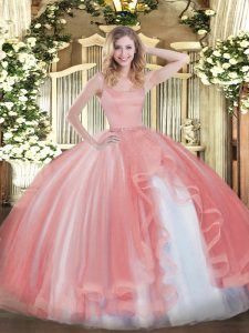 Traditional Coral Red Tulle Zipper Quince Ball Gowns Sleeveless Floor Length Beading