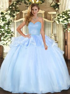 Flirting Floor Length Lace Up Quinceanera Dresses Light Blue for Military Ball and Sweet 16 and Quinceanera with Beading and Ruffles