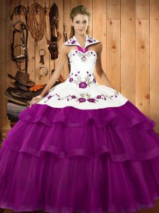 Sleeveless Organza Sweep Train Lace Up Ball Gown Prom Dress in Eggplant Purple with Embroidery and Ruffled Layers