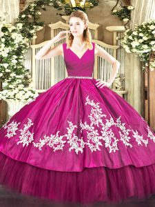 Embroidery 15th Birthday Dress Fuchsia Zipper Sleeveless Floor Length