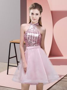 Flare Sleeveless Mini Length Sequins Backless Quinceanera Dama Dress with Pink
