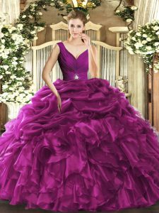 Artistic Fuchsia Sleeveless Beading and Ruffles Floor Length 15 Quinceanera Dress
