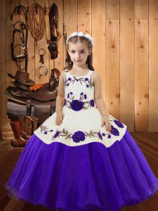 Purple Sleeveless Floor Length Embroidery Lace Up Pageant Gowns