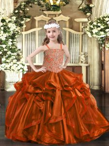 Rust Red Sleeveless Organza Lace Up Little Girls Pageant Dress for Sweet 16 and Quinceanera