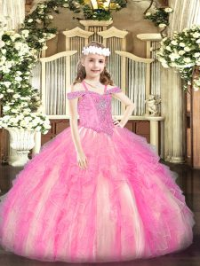 Latest Organza Sleeveless Floor Length Pageant Dress for Teens and Beading and Ruffles