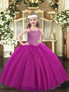New Style Fuchsia Ball Gowns Straps Sleeveless Tulle Floor Length Lace Up Beading Evening Gowns