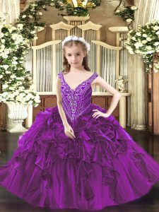 V-neck Sleeveless Organza High School Pageant Dress Beading and Ruffles Lace Up