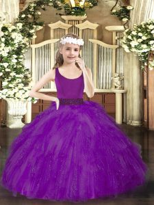Best Tulle Scoop Sleeveless Zipper Beading Pageant Dress for Girls in Purple