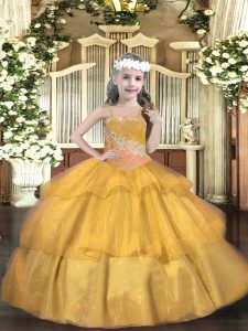 Graceful Gold Organza Lace Up Straps Sleeveless Floor Length Little Girl Pageant Dress Beading and Ruffled Layers and Sequins