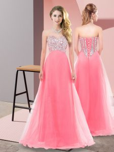Unique Floor Length Watermelon Red Damas Dress Sweetheart Sleeveless Lace Up