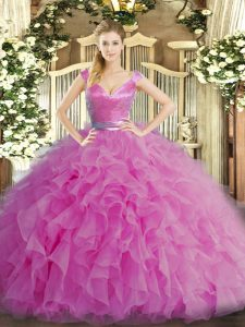 Great Sleeveless Floor Length Ruffles Zipper Quinceanera Gown with Lilac