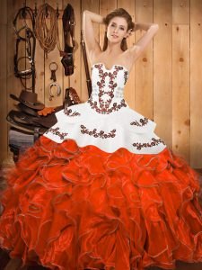 Rust Red Ball Gowns Embroidery and Ruffles 15 Quinceanera Dress Lace Up Satin and Organza Sleeveless Floor Length