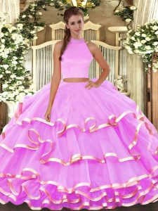 Elegant Lilac Sleeveless Organza Backless Ball Gown Prom Dress for Military Ball and Quinceanera