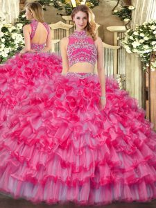 Sleeveless Tulle Floor Length Backless Vestidos de Quinceanera in Coral Red with Beading and Ruffled Layers
