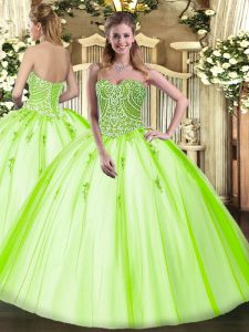 Best Sleeveless Floor Length Beading Lace Up 15th Birthday Dress with Yellow Green