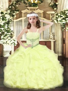 Yellow Straps Neckline Beading and Ruffles Pageant Dress for Teens Sleeveless Lace Up