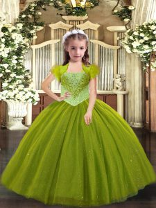 Affordable Straps Sleeveless Little Girl Pageant Gowns Floor Length Beading Olive Green Tulle