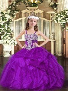 Trendy Sleeveless Organza Floor Length Lace Up Pageant Gowns For Girls in Purple with Appliques and Ruffles