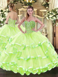 Stunning Yellow Green Sleeveless Floor Length Beading and Ruffled Layers Lace Up 15th Birthday Dress