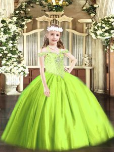 Dramatic Yellow Green Ball Gowns Tulle Off The Shoulder Sleeveless Beading Floor Length Lace Up Winning Pageant Gowns
